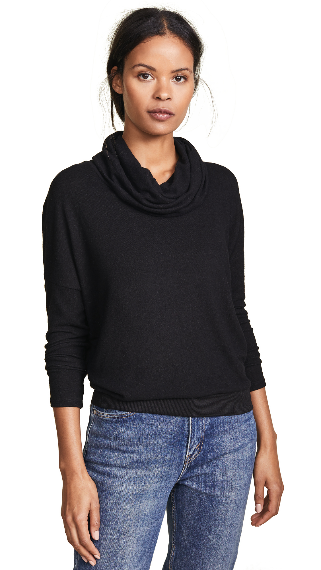 Z Supply The Marled Cowl Neck Sweater In Black