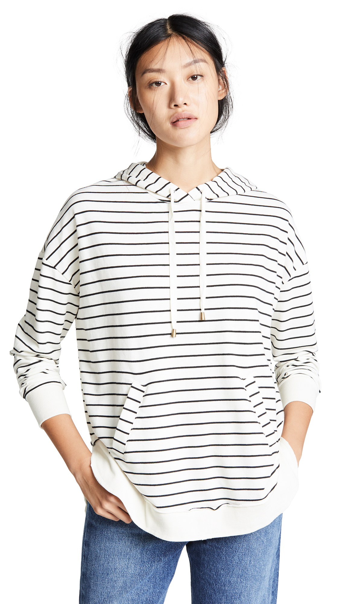 Z Supply The Stripe Dakota Pullover Hoodie In Pearl/Black