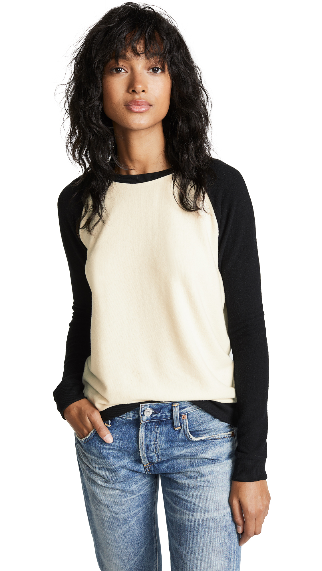 Z Supply Soft Spun Knit Raglan In Pearl/Black
