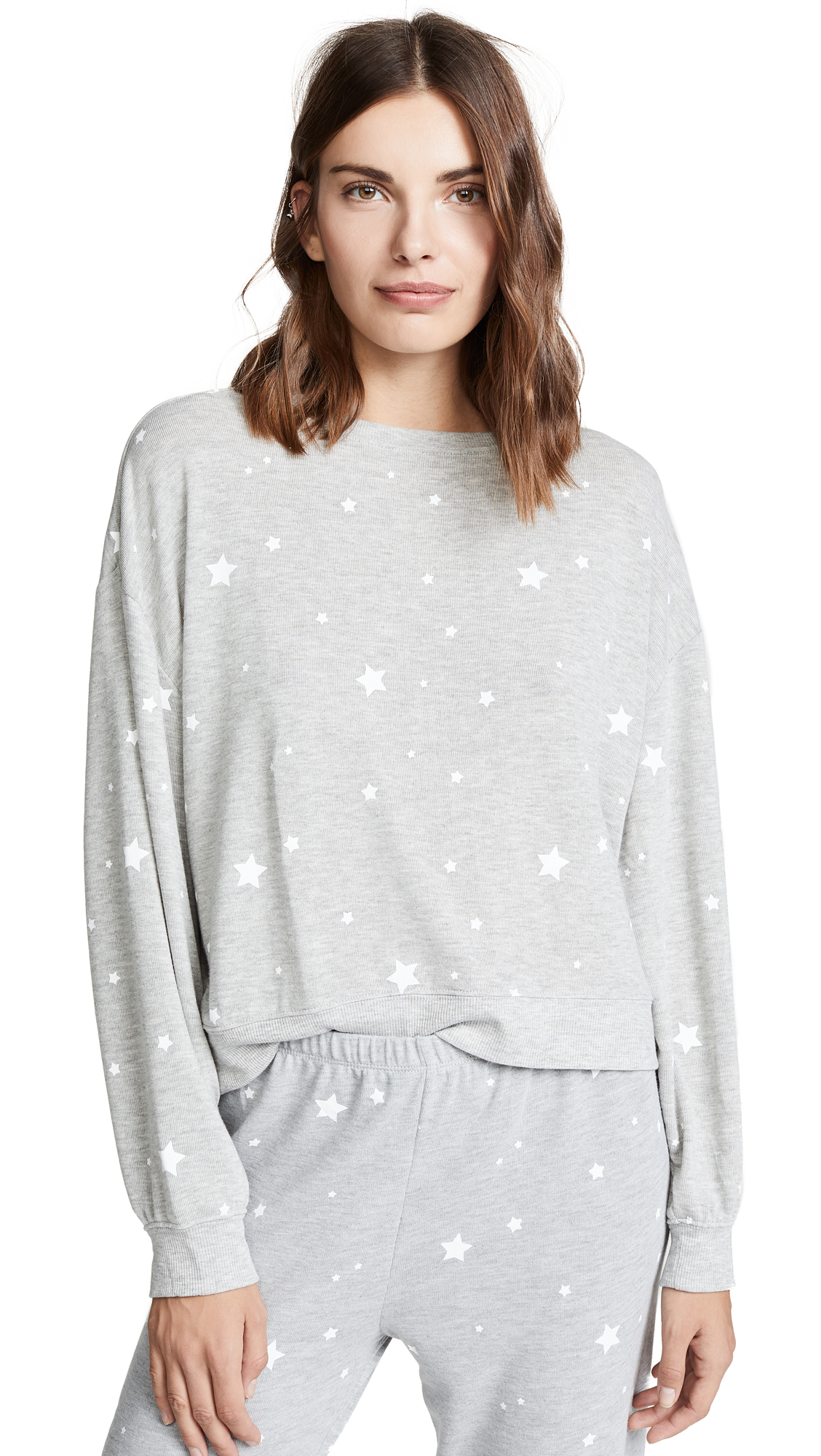 Z SUPPLY Star Print Pull Over in Heather Grey