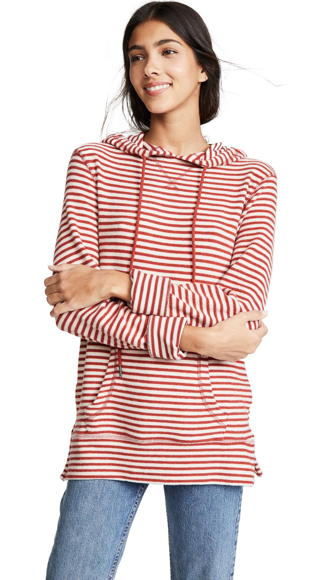 Z Supply Stripe Soft Spun Pullover In Sandshell/Russet Henna