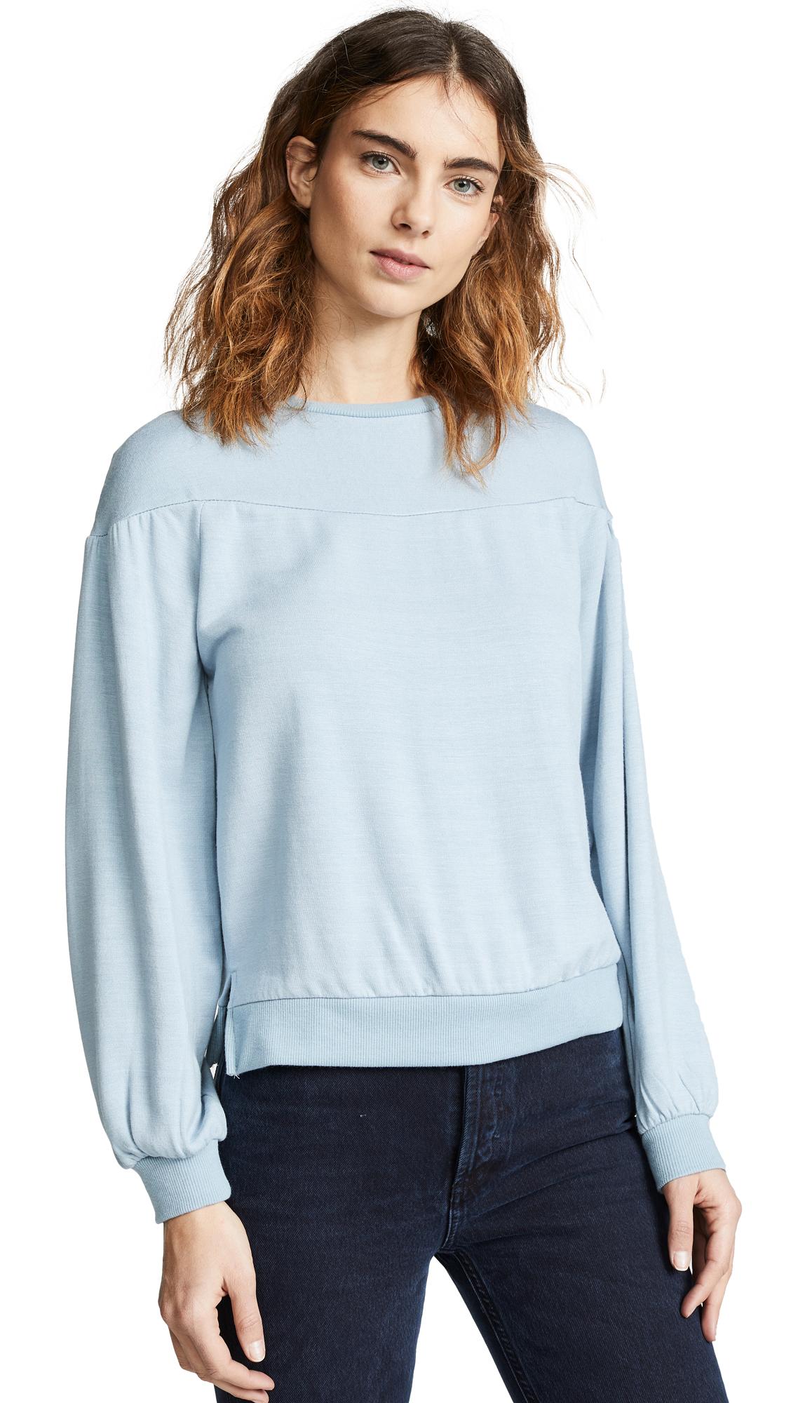 Z SUPPLY The Elizabeth Pull Over Fleece in Dusty Blue