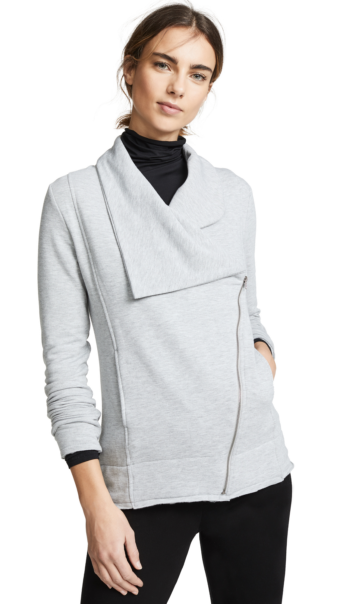 Z SUPPLY The Feathered Fleece Jacket in Heather Grey
