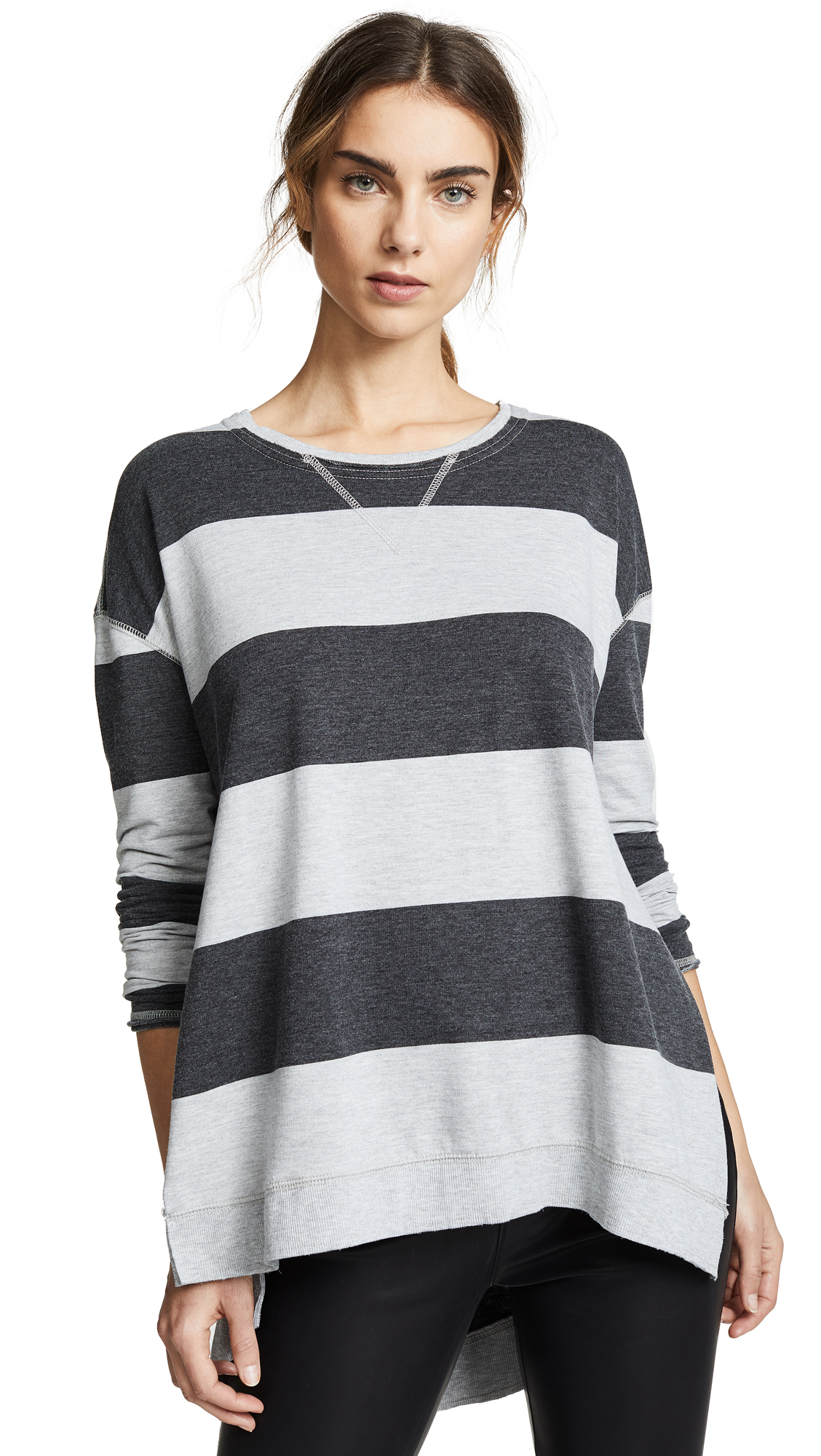 Z SUPPLY The Rugby Stripe Weekender Pullover in Black