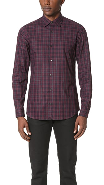 Z Zegna Slim Fit Plaid Shirt