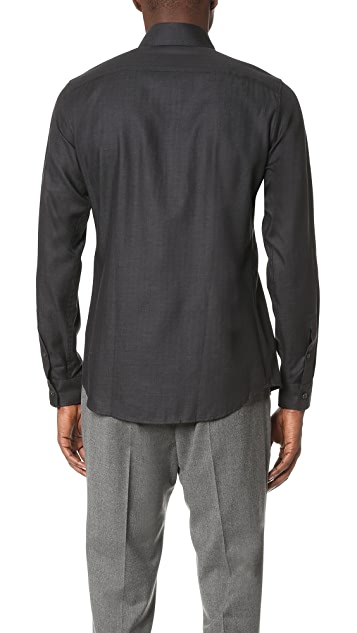 Z Zegna Melange Herringbone Slim Fit Shirt