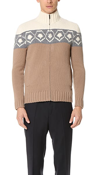 Z Zegna Placed Tricolor Jacquard Full Zip Cardigan