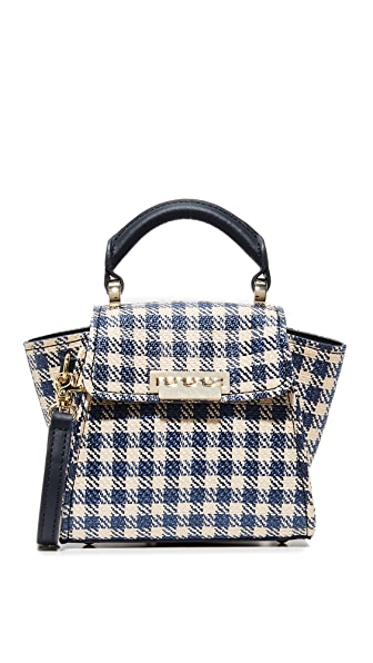 ZAC Zac Posen Eartha Gingham Staw Mini Top Handle Bag