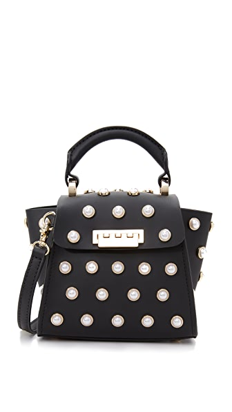 ZAC Zac Posen Eartha Imitation Pearl Top Handle Mini Cross Body Bag - Black