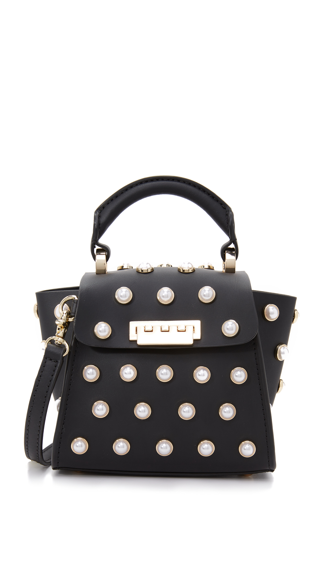 ZAC Zac Posen Eartha Imitation Pearl Top Handle Mini Cross Body Bag - Black