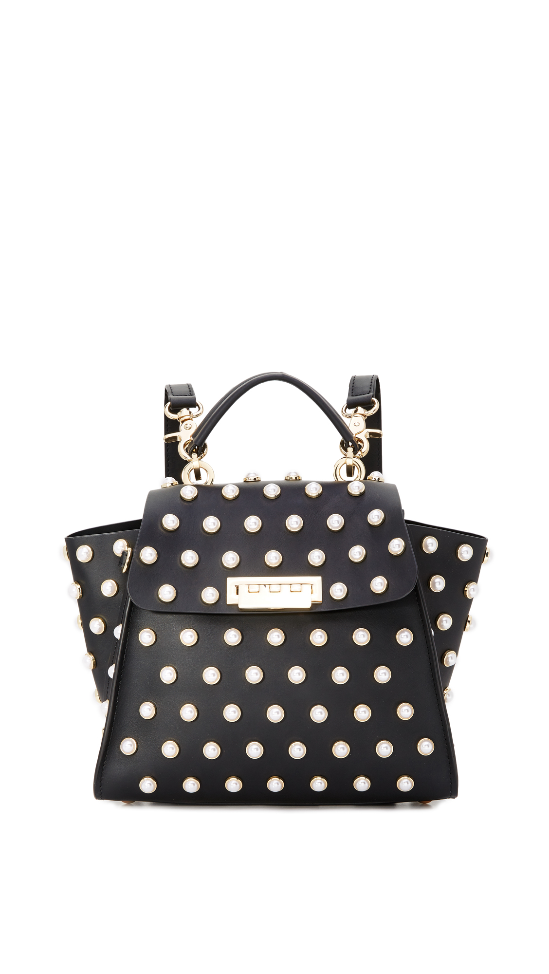 ZAC Zac Posen Eartha Imitation Pearl Lady Convertible Backpack - Black