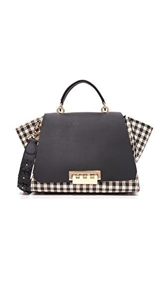 ZAC Zac Posen Eartha Gingham Straw Soft Top Handle Bag