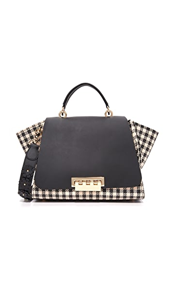 ZAC Zac Posen Eartha Gingham Straw Soft Top Handle Bag