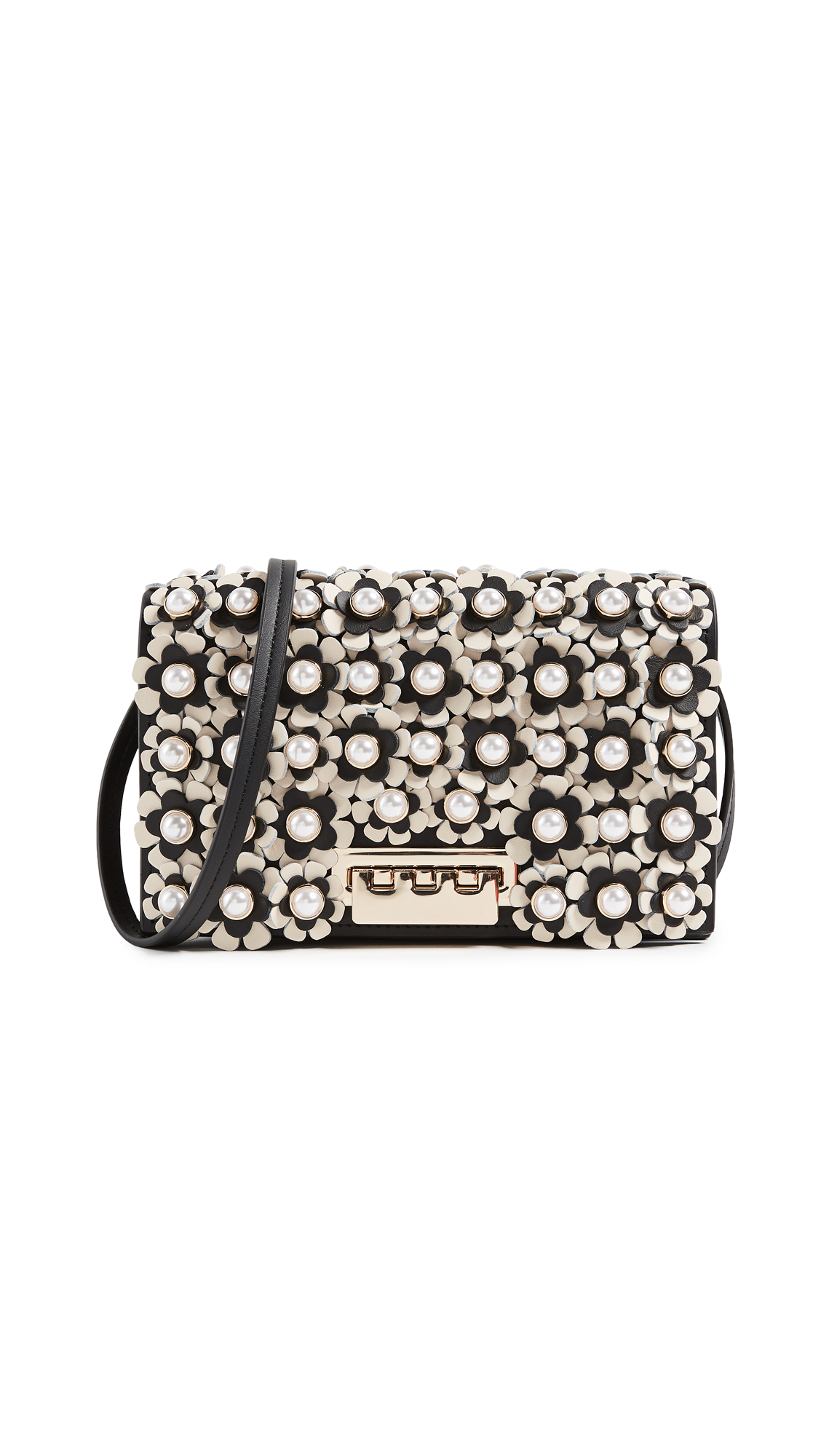 ZAC Zac Posen Earthette Floral Cross Body Bag - Black/Ivory