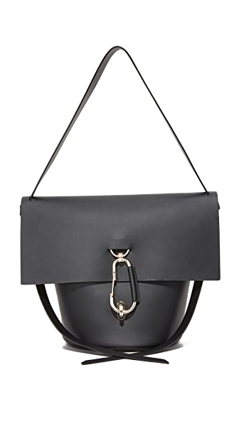 ZAC ZAC POSEN Belay Basic Leather Shoulder Bag in Black
