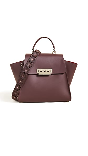 ZAC Zac Posen Eartha Iconic Top Handle Bag with Floral Strap In Cordial
