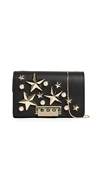 ZAC Zac Posen Star Stud Earthette Accordion Shoulder Bag In Black