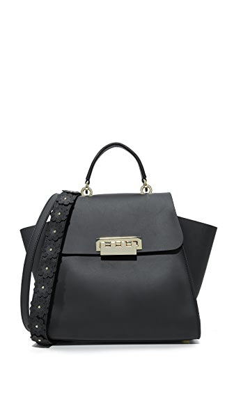 ZAC Zac Posen Eartha Iconic Top Handle Bag with Floral Strap - Black