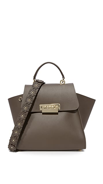 ZAC Zac Posen Eartha Iconic Top Handle Bag with Floral Strap