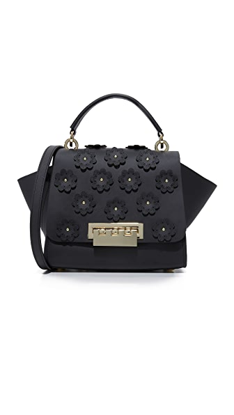 ZAC Zac Posen Floral Applique Eartha Iconic Top Handle Cross Body Bag - Black