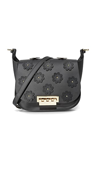 ZAC Zac Posen Floral Applique Eartha Iconic Saddle Bag - Black