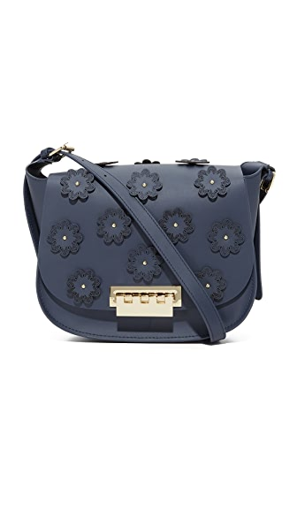 ZAC Zac Posen Floral Applique Eartha Iconic Saddle Bag - Tide