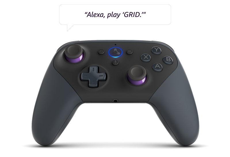 A Luna Controller being used with Alexa to play GRID