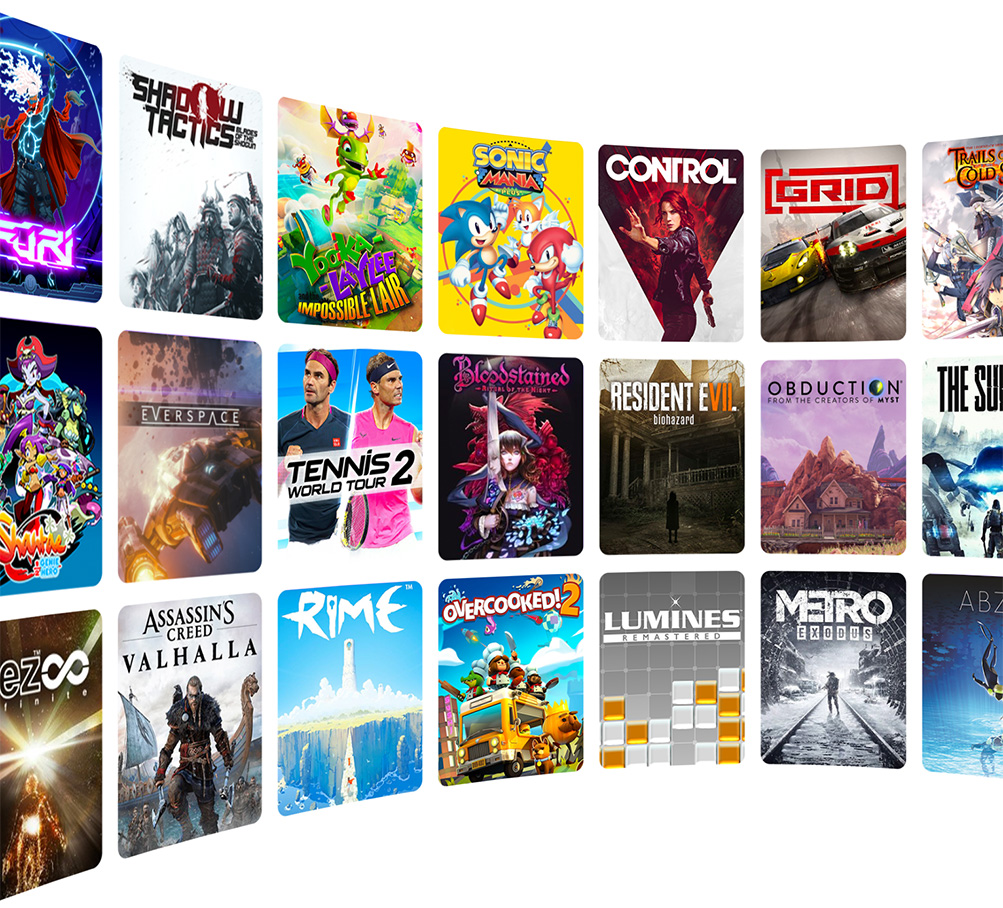 A wall of featured games, including Resident Evil 7 and Control
