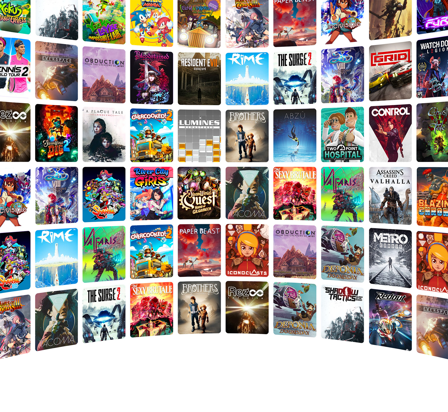 A wall of games that are on Luna, like Control and Assassins Creed: Valhalla