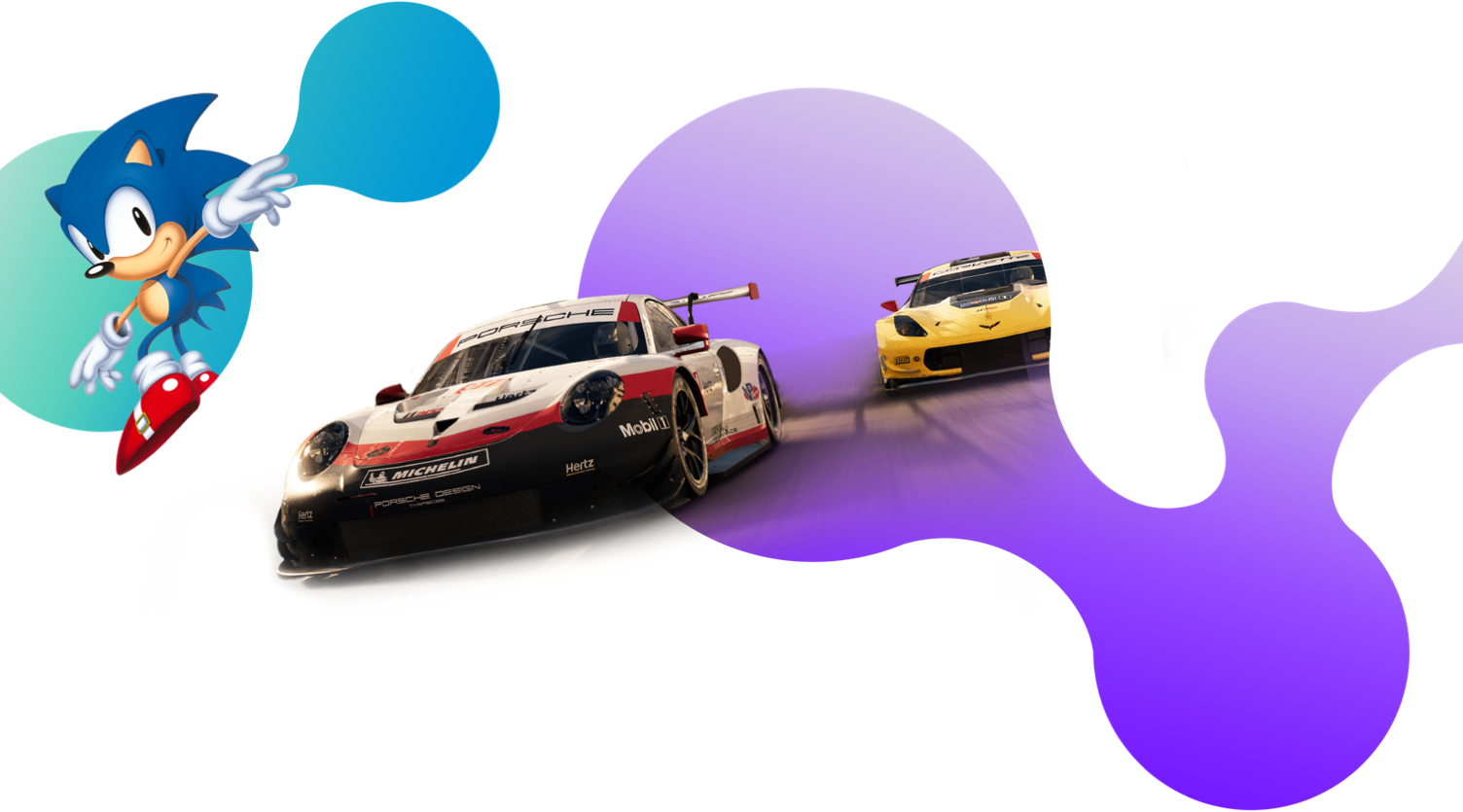 A background image featuring two race cars from Grid and Sonic the Hedgehog
