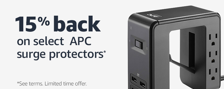 15% back on select APC surge protectors*