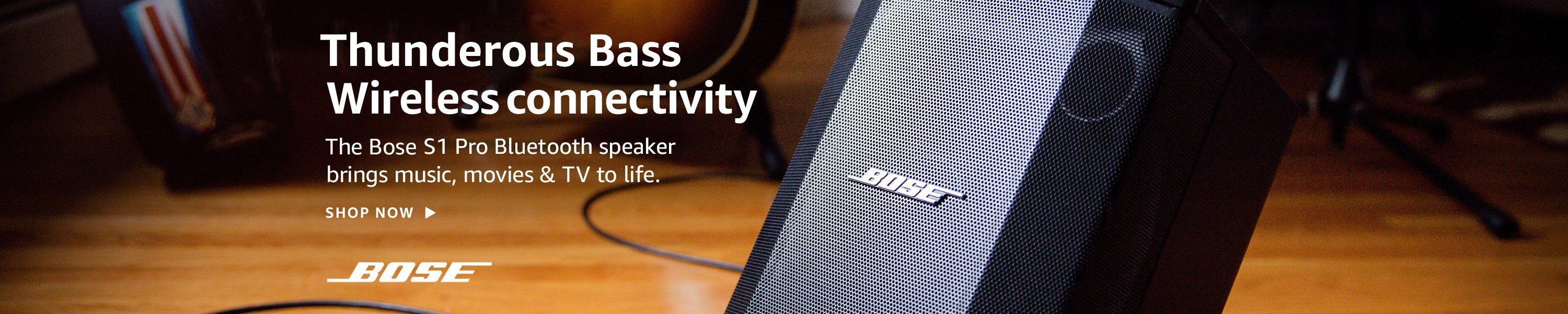 Thunderess bass. Wireless connectivity. The Bose S1 Pro Bluetooth speaker brings movies, music to life.