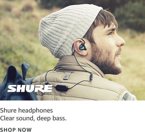 Clear sound, deep bass; Shure logo