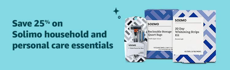 Save 25% on Solimo household and personal care essentials