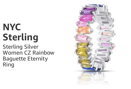Sterling Silver Women Cubic Zirconia Rainbow Baguette Eternity Ring