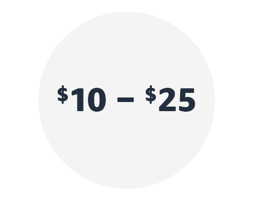 $10 - $25