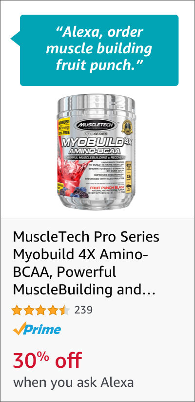 MuscleTech Pro Series Myobuild 4X Amino-BCAA, Powerful MuscleBuilding and Recovery Formula, Fruit Punch Blast