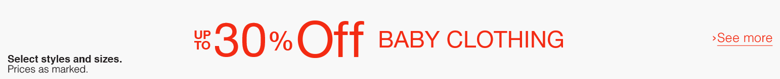 Up to 30% off Baby Clothing