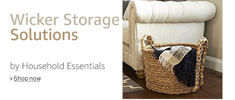 Household Essentials Large Wicker Basket For Storage With Oversized Handle,  Light Brown