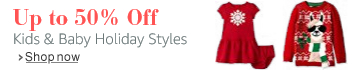 up to 50% off kids' and baby holiday styles
