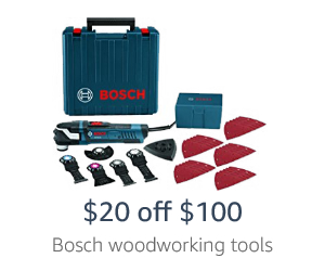 $20 off $100 on Bosch woodworking tools