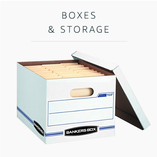 Boxes and storage
