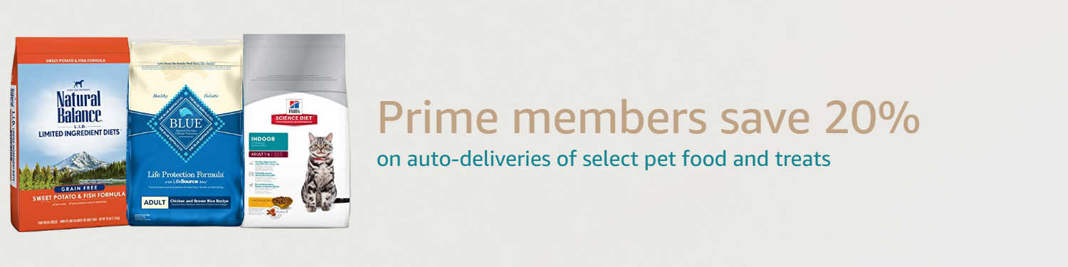 Prime members save 20% on auto-deliveries of select pet food