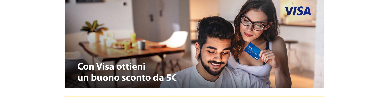 Ottieni un buono sconto da 5€ con Visa. Imposta la tua carta Visa come predefinita e riceverai un buono Amazon da usare sul tuo prossimo acquisto.