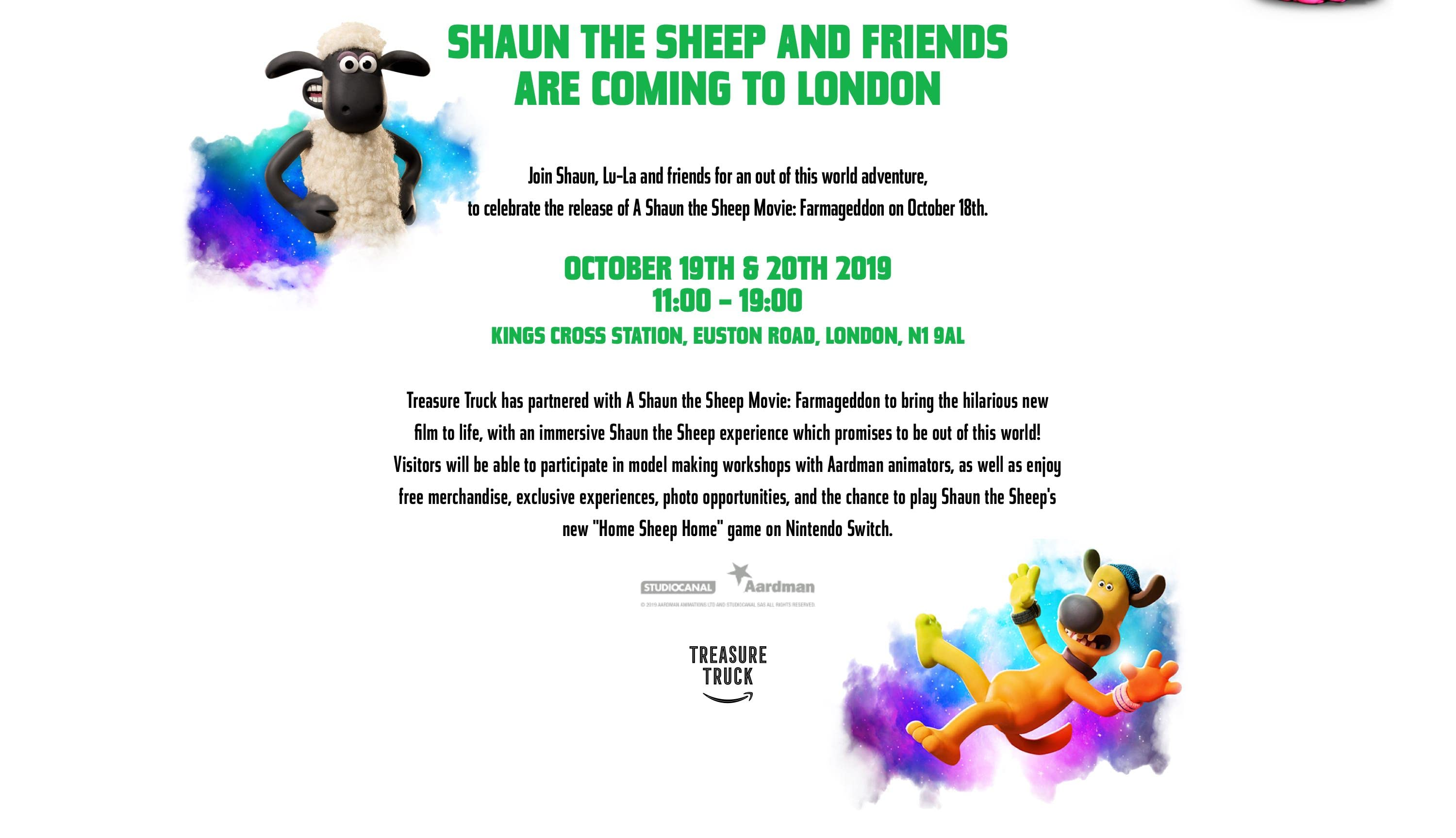 Shaun the Sheep and friends are coming to London.