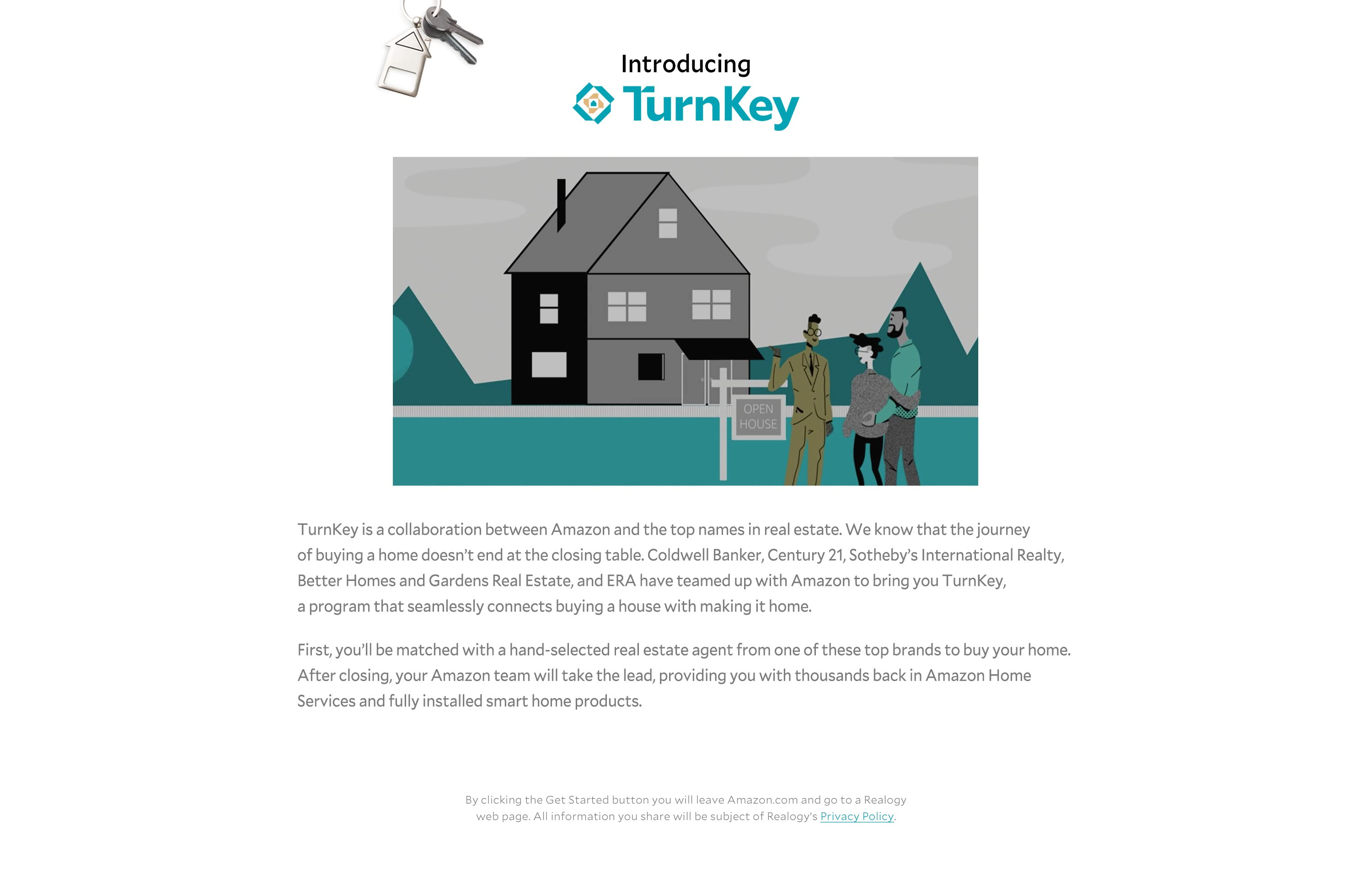 Introducing TurnKey. TurnKey is a collaboration between Amazon and the top names in real estate.