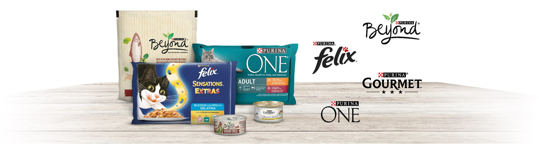 Offerte per il tuo gatto. Purina Gourmet, Purina Beyond, Purina Felix, Purina ONE.