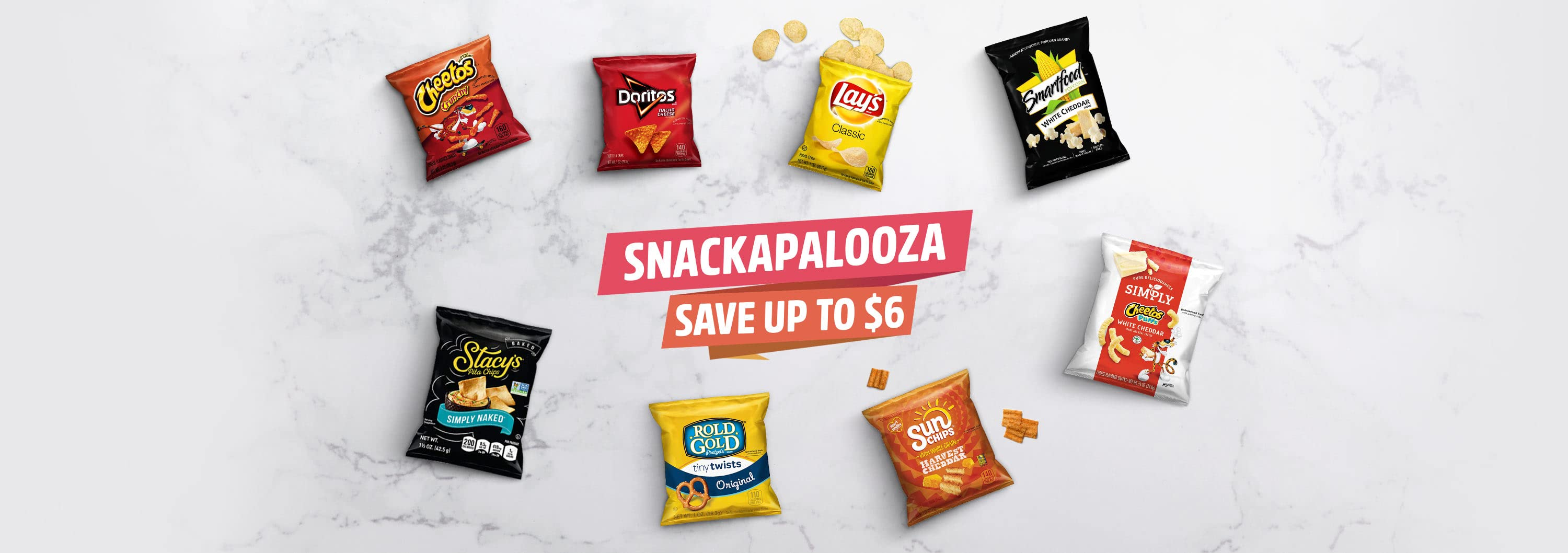 SNACKAPALOOZA. SAVE UP TO $6.