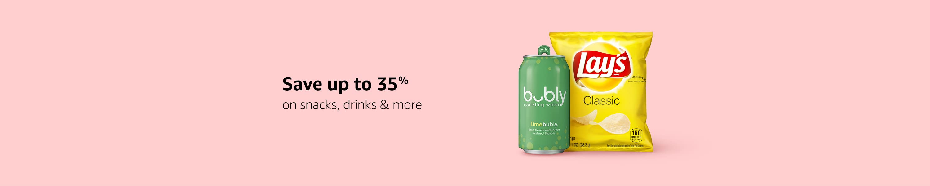Save up to 35 percent on snacks, drinks & more