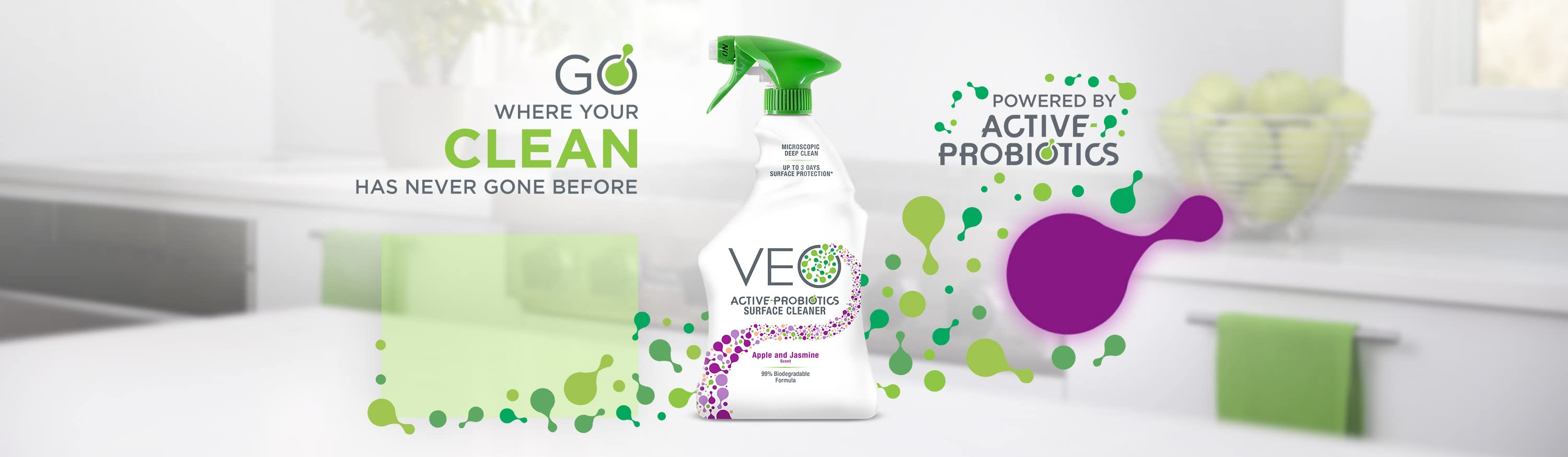 Go where your clean has never gone before. Powered by active probiotics.